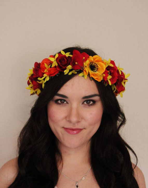 Mexican Frida Kahlo Red Yellow Orange Floral Headband Floral