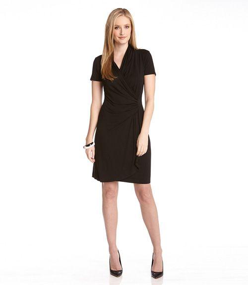 Karen Kane Short Sleeve Cascade Wrap Dress Xl Xs Black