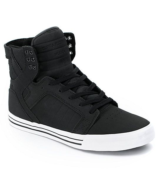 cce7d508957c Never sacrifice any element of your skate shoe again with the ultra tough Supra  Skytop black express Tuf canvas skate shoes. These high top skate shoes ...