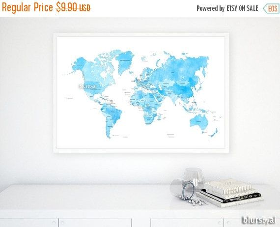 36x24 PRINTABLE world map with countries and by blursbyaiShop