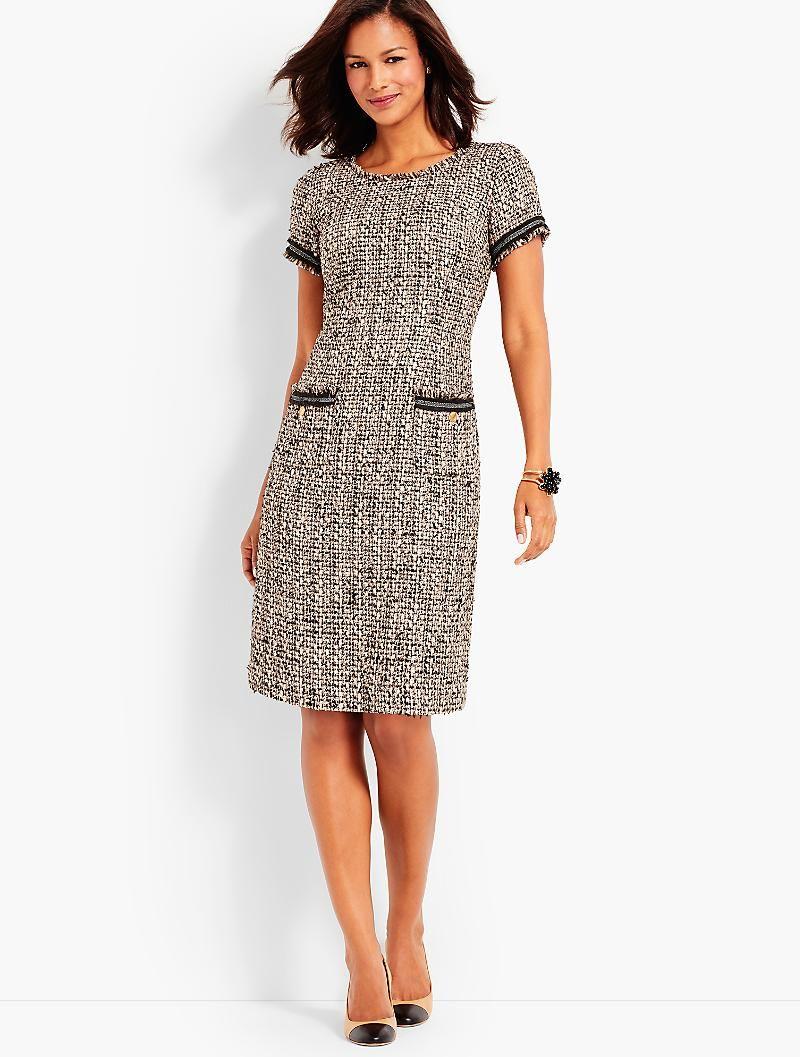 Fringe Jolie Tweed Shift Talbots Fashion Dresses Work Dresses For Women Sewing Dresses [ 1057 x 800 Pixel ]