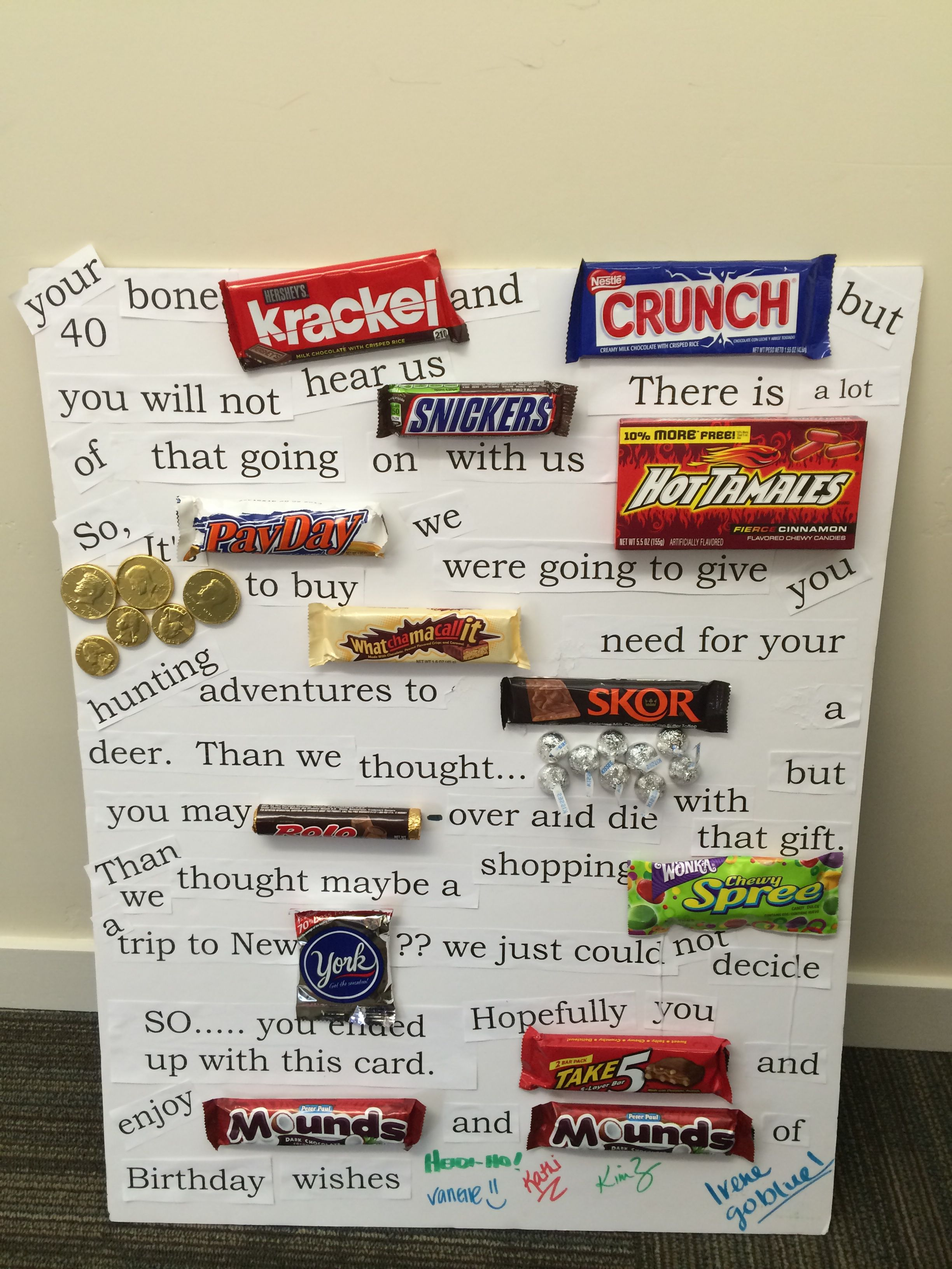 Candy birthday card Candy poster board