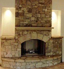 Stacked Rock Fireplace mega stack stone fireplace, nice built ins with lighting | bay