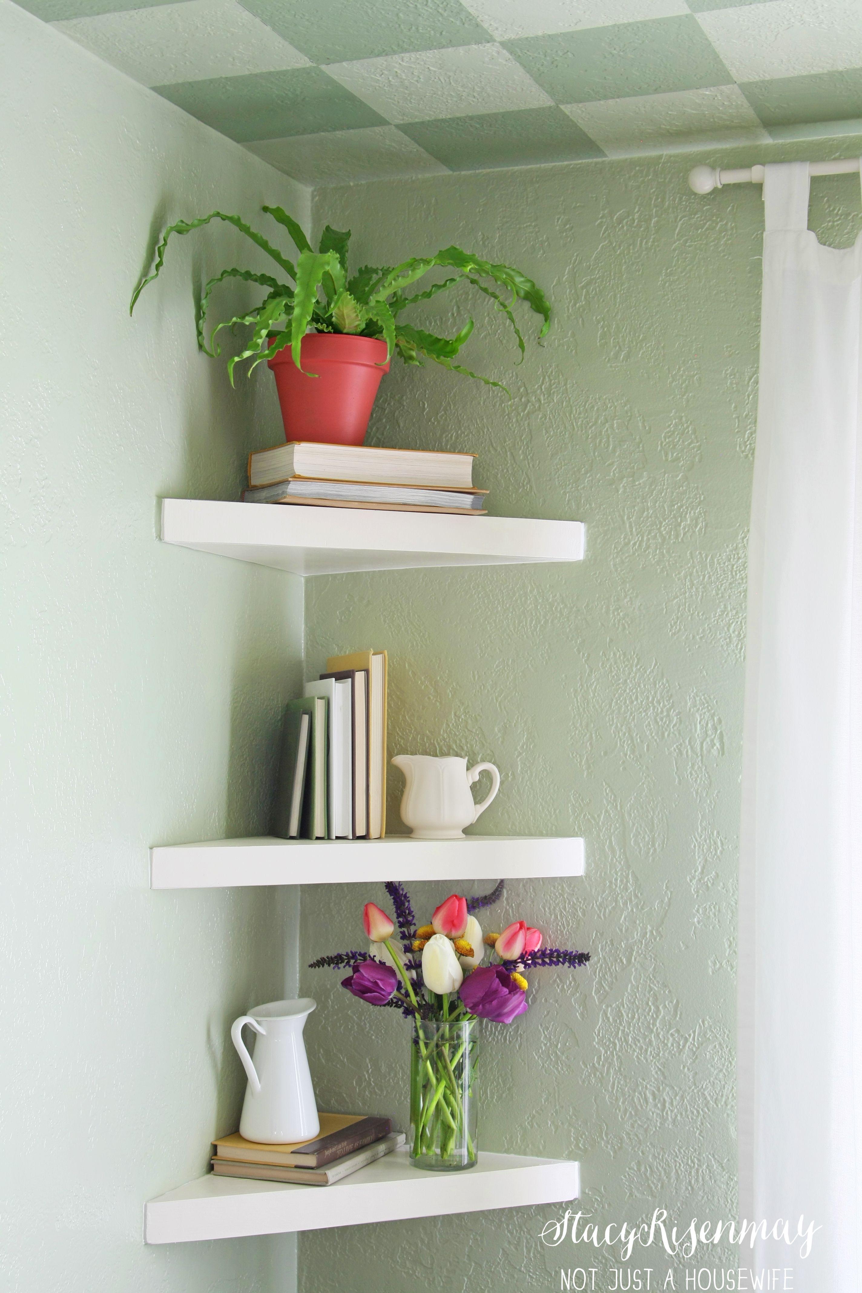 Floating Corner Shelves Floating Shelves Living Room Decorating