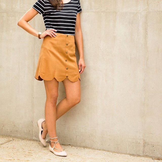 lc lauren conrad for kohl�s scalloped faux suede skirt