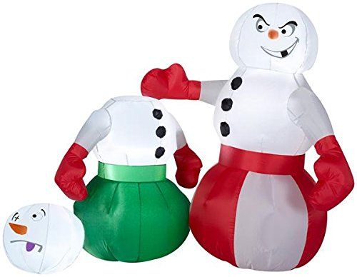 4 Airblown Snowmen Boxing Scene Christmas Inflatable -- Want