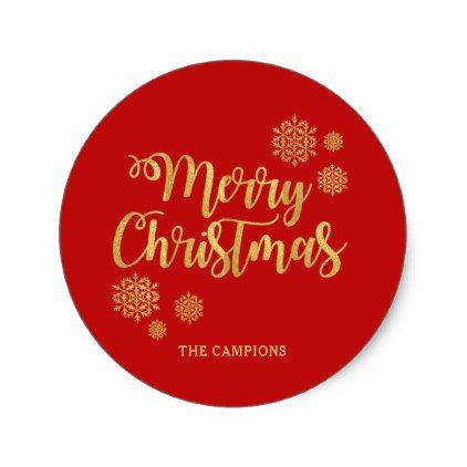 Gold calligraphy merry christmas red holiday classic round sticker holidays diy custom design cyo holiday family