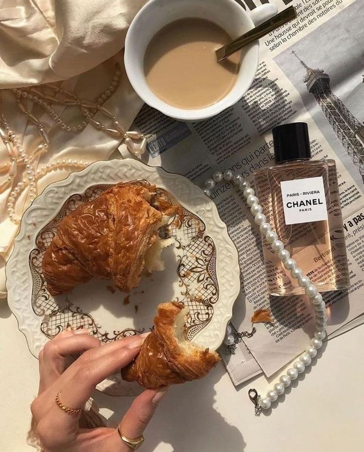 Morning croissant and coffee