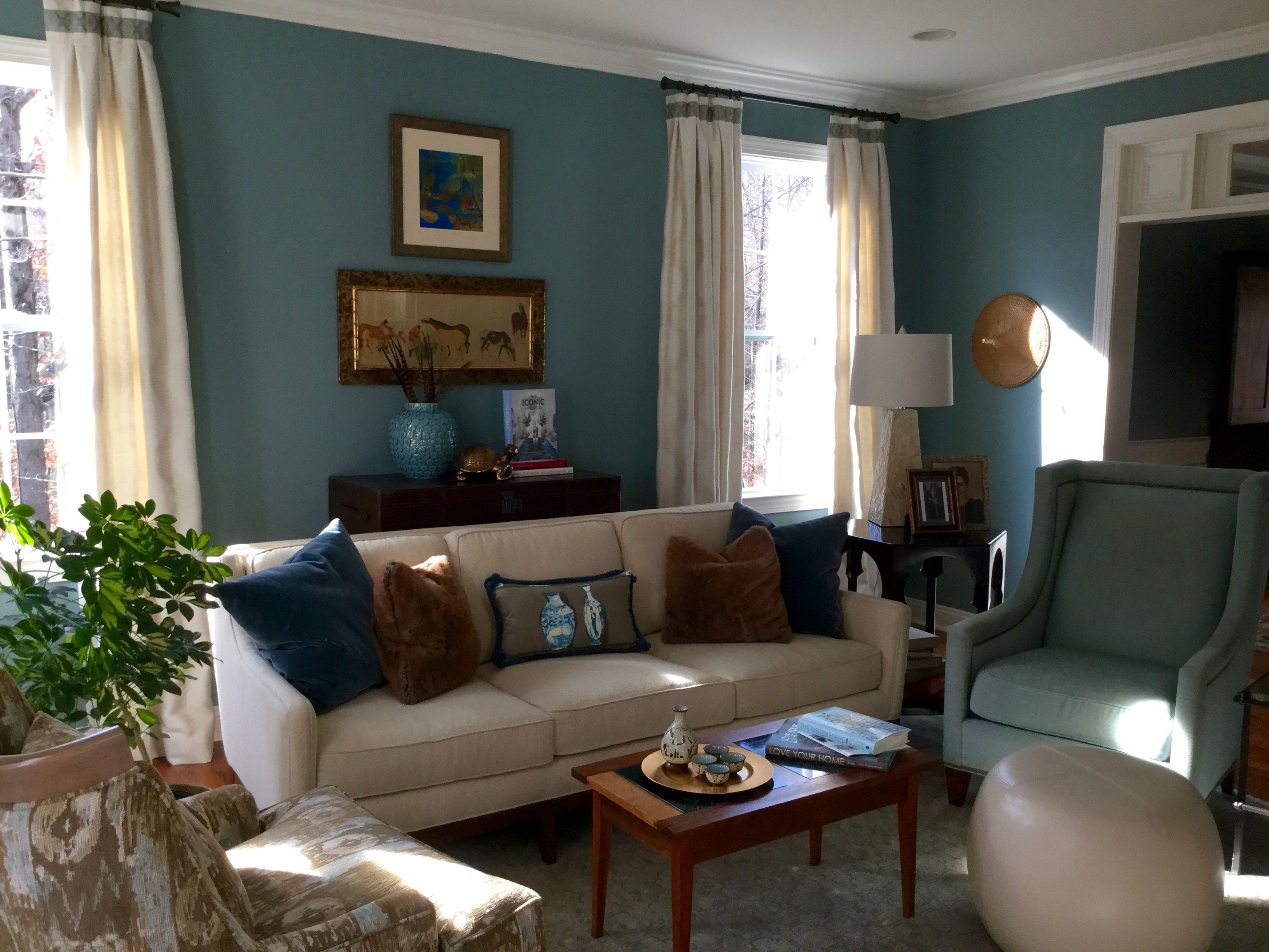 Chester County Pa Living Room Benjamin Moore Atmospheric Walls Stationary Drapery Panels With Border Trim On Pleats Interior Design Room Design Interior