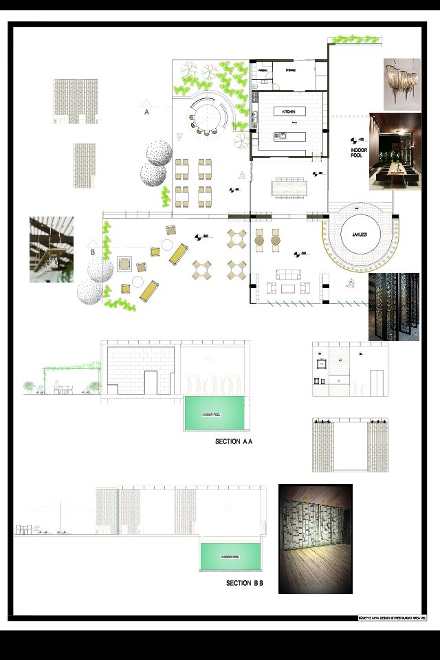 Plan And Elevation Cuisine : Restaurant plan section and elevation presentation