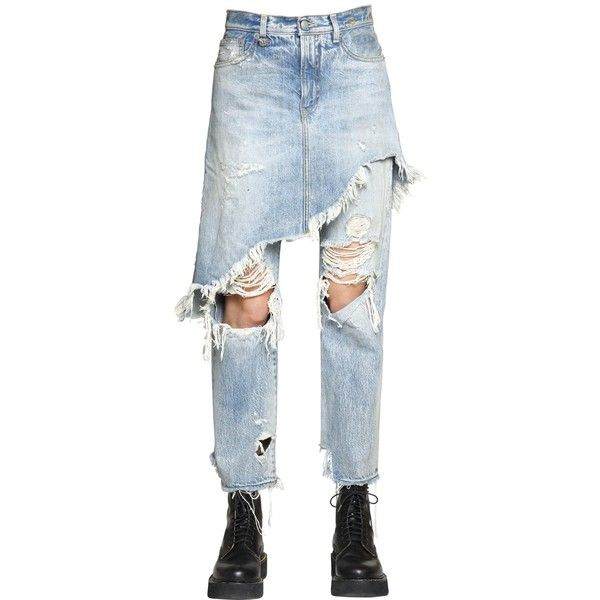 ripped skirt over jeans - Blue R13 jux82L