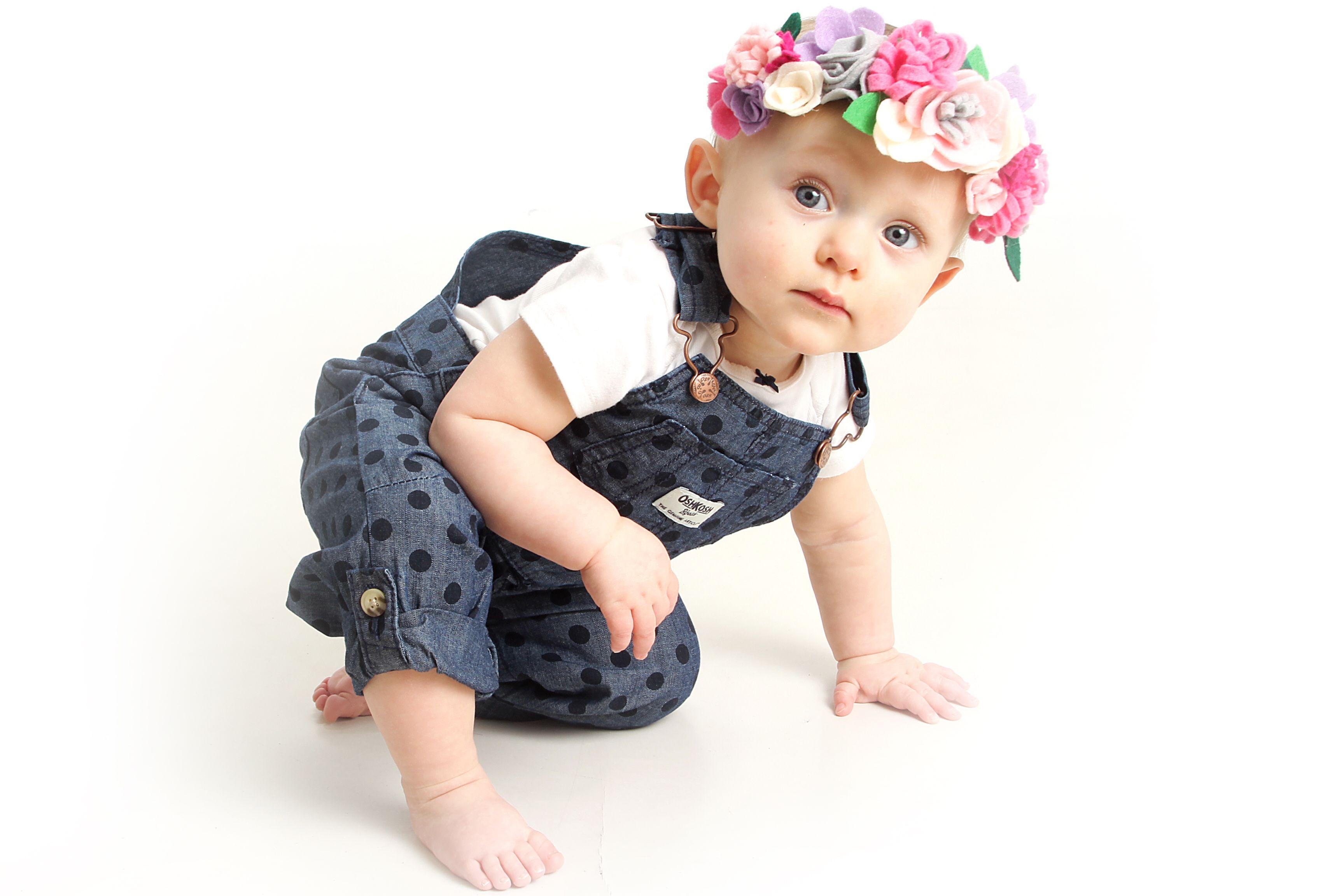 Baby Girl First Birthday Photo- #oshkoshb'gosh felt flower crown