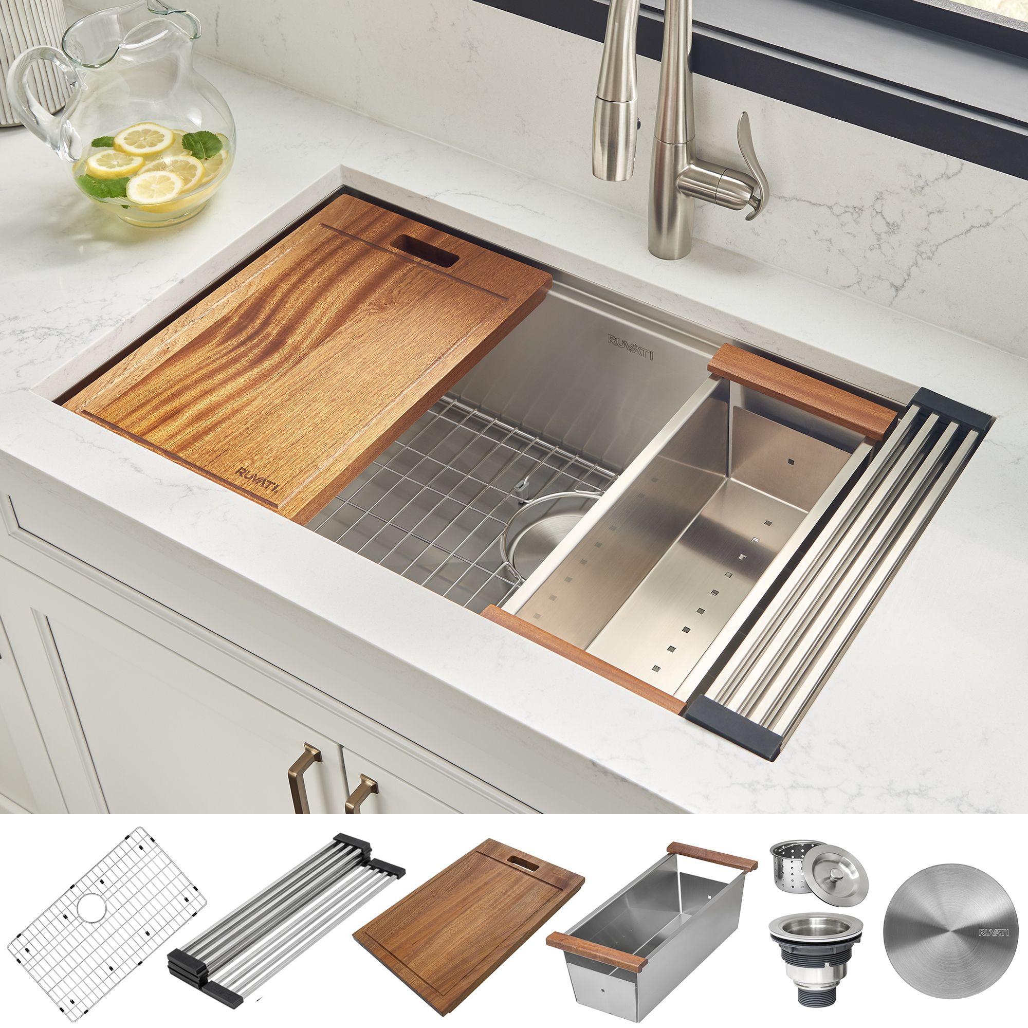 30 Inch Workstation Ledge Undermount 16 Gauge Stainless Steel Kitchen Sink Single Bowl Ruvati Usa Ledge Kitchen Sinks Stainless Steel Ledge Stainless Steel Kitchen Sink