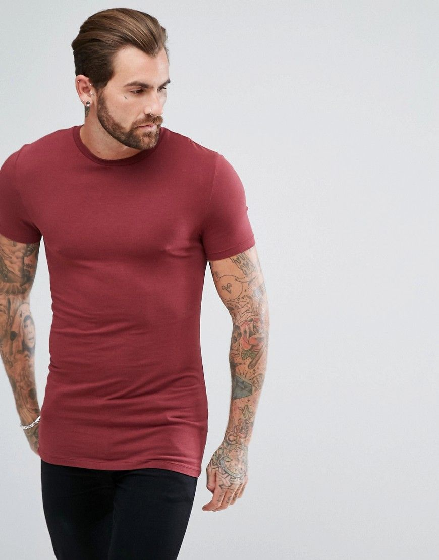 Asos longline muscle fit tshirt with crew neck red
