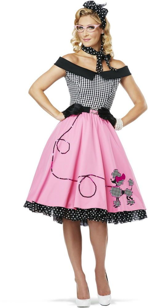 Womens 50s Style Cute Poodle Skirt Grease Halloween Outfit Dance Dress Costume