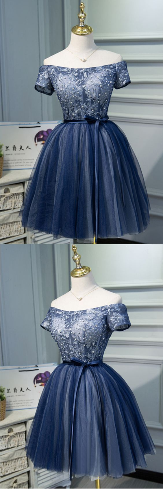 Navy blue tulle off shoulder sash short homecoming dress with