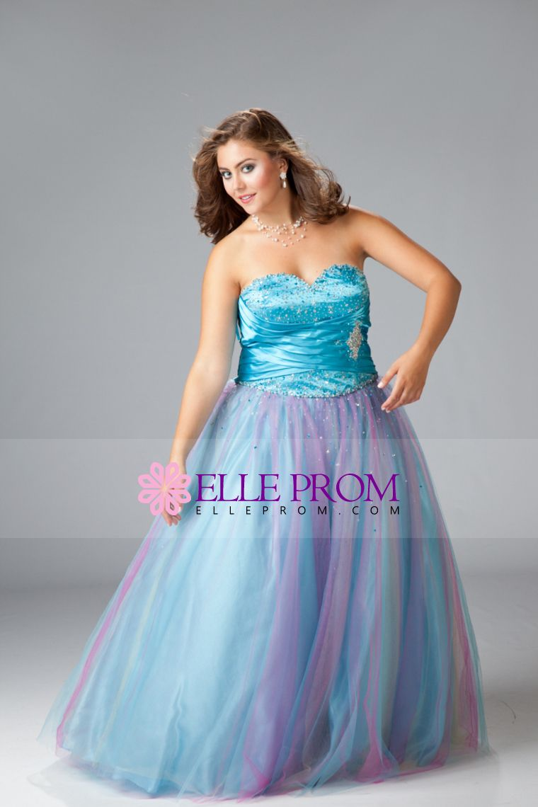 Prom dresses a line multicolor floor length tulle plus size prom