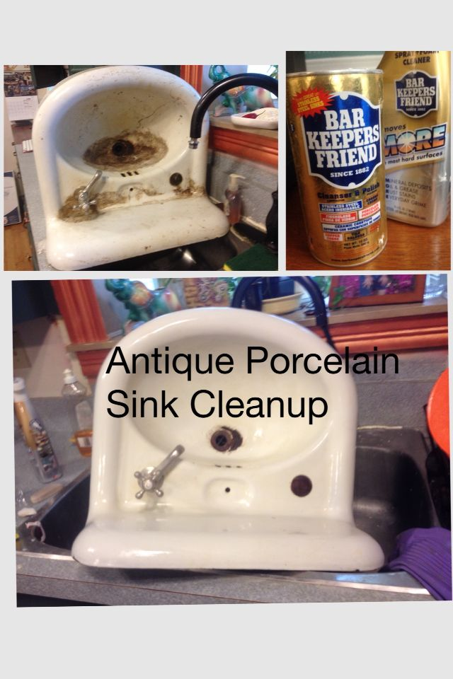 Antique Porcelain Sink Clean Up. Bar Keepers Friend And Magic Eraser