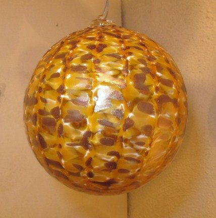 Glass blown ornament in Gold Frit Color by KatzGlassDesign on Etsy