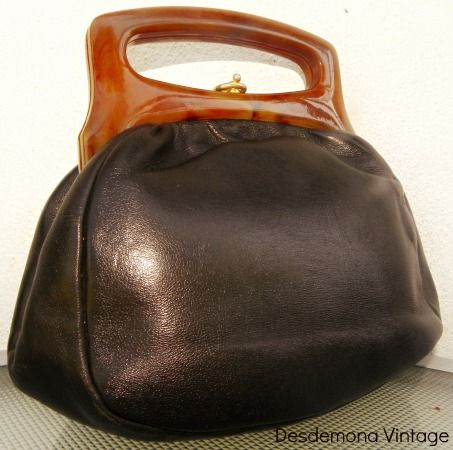Vintage 1960s brown genuine leather and Lucite handbag from Desdemona Style & Vintage