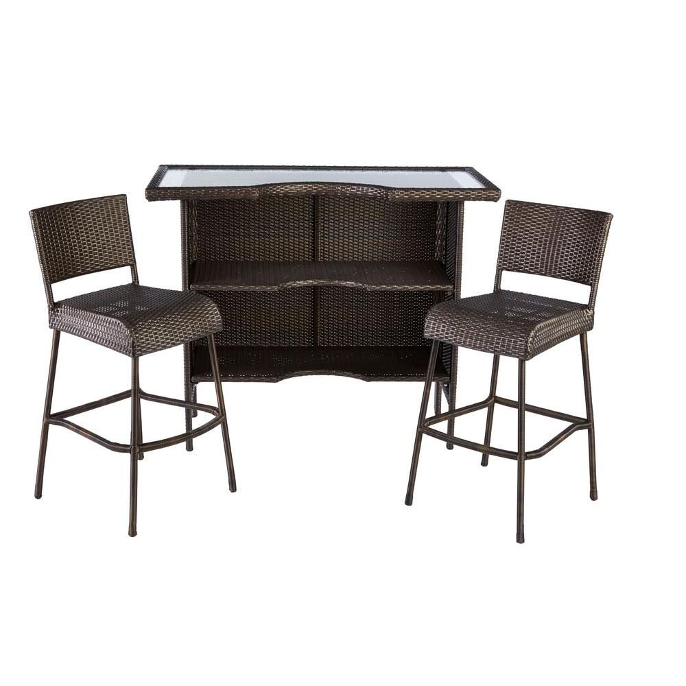 Hampton Bay Beverly 3 Piece Wicker Outdoor Patio Bar Set Backyard