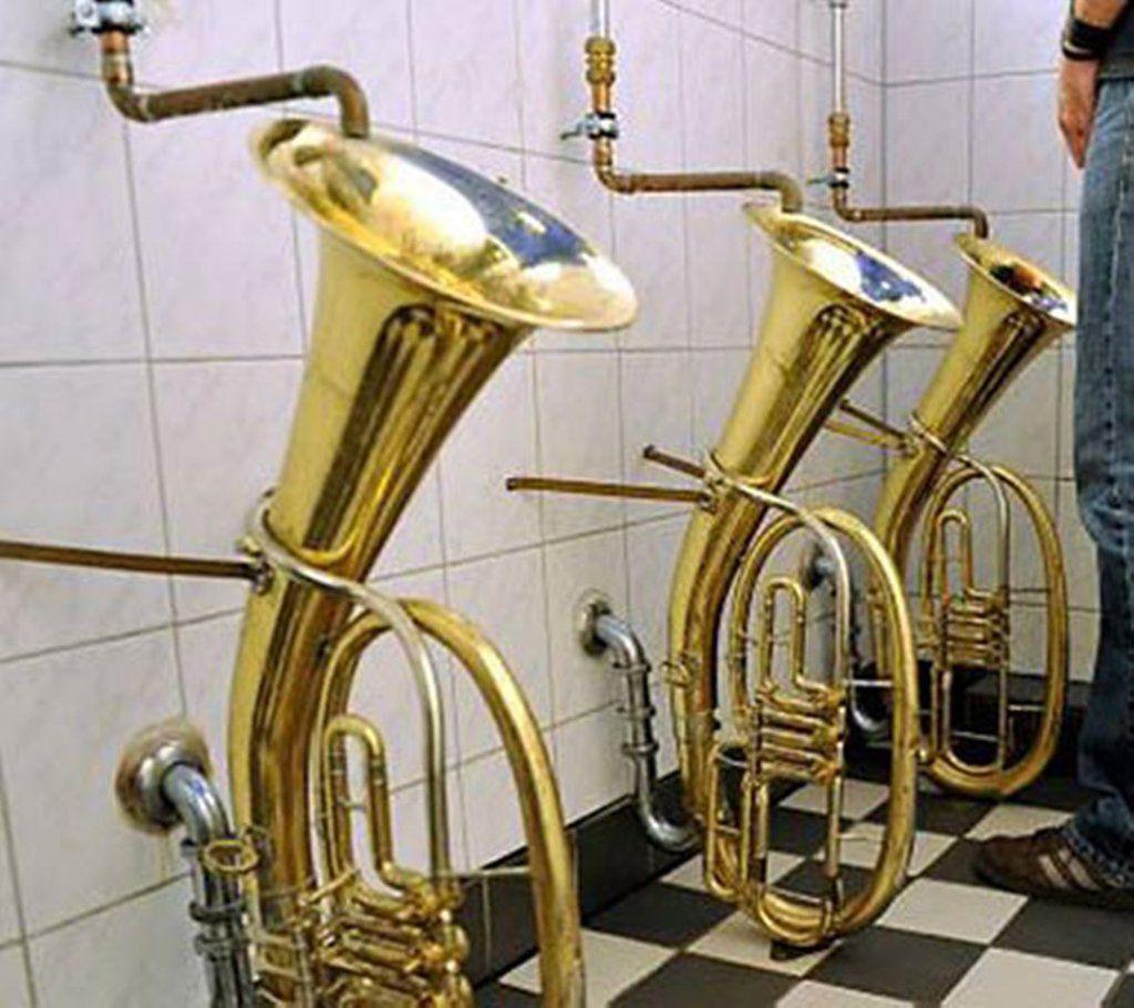Trombones Urinals Urinals Cool Toilets Brass Instruments