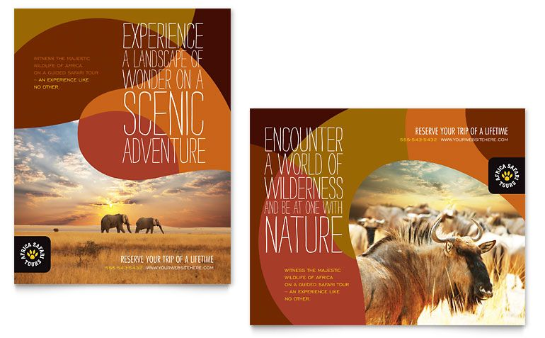 African Safari - Brochure Template Print Design Pinterest - brochures templates word