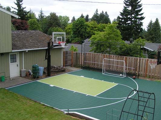 Backyard basketball court outdoors pinterest for Backyard sport court ideas