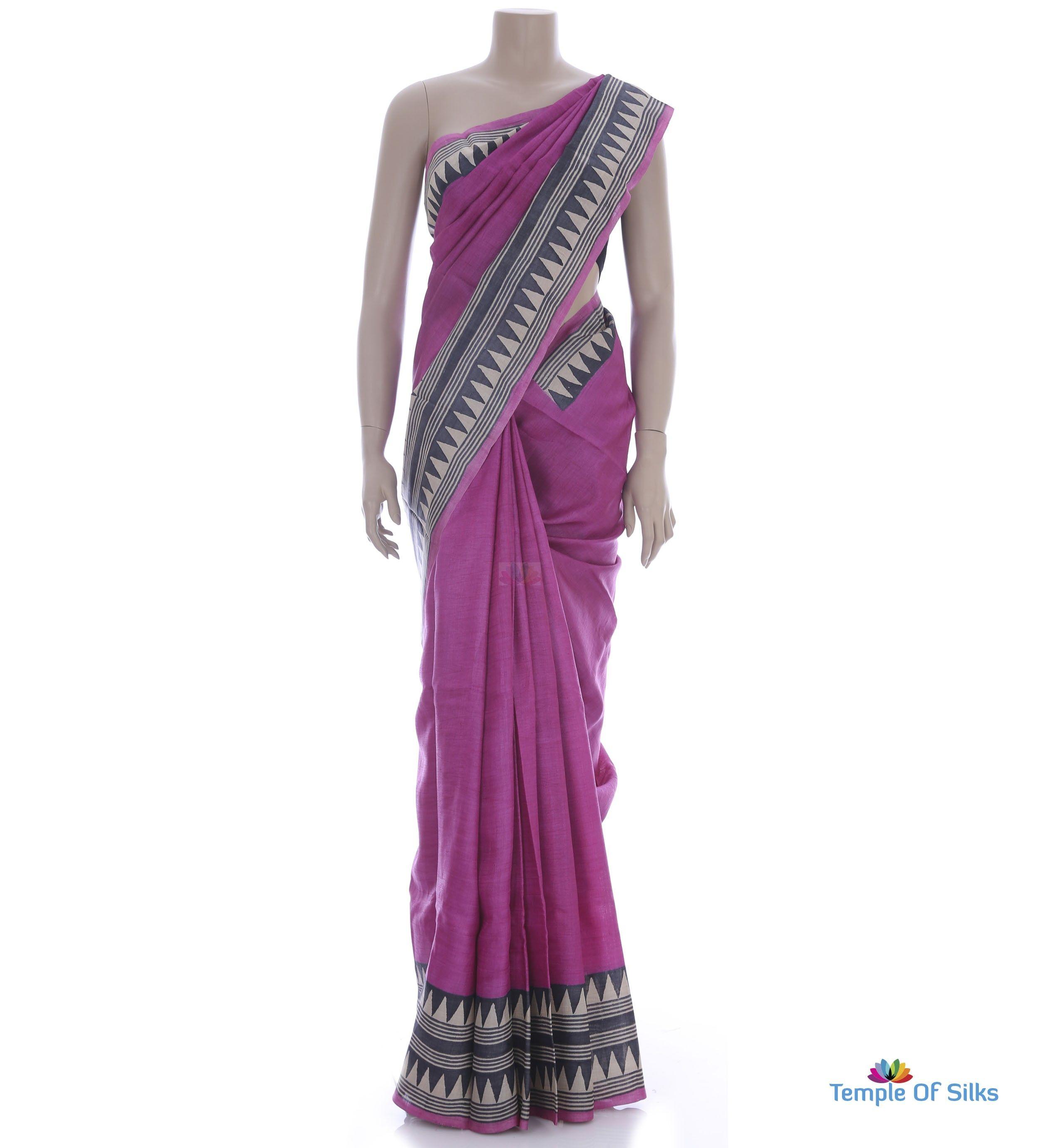 plain pink tussar saree | saree, one shoulder formal dress
