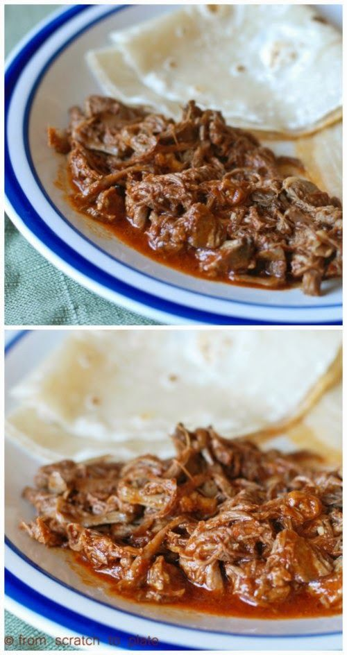 Slow Cooker Red Chile Beef (with homemade red chile sauce) by From Scratch to Plate; eat in tortillas or serve the meat alone for a lower-carb meal.  [Featured on SlowCookerFromScratch.com]