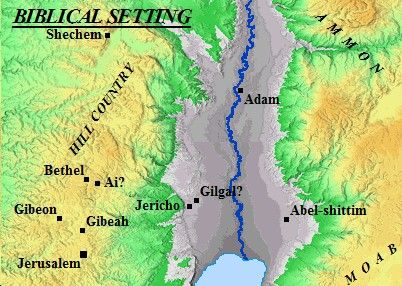 A map of ancient Jericho and its neighboring cities Jericho is