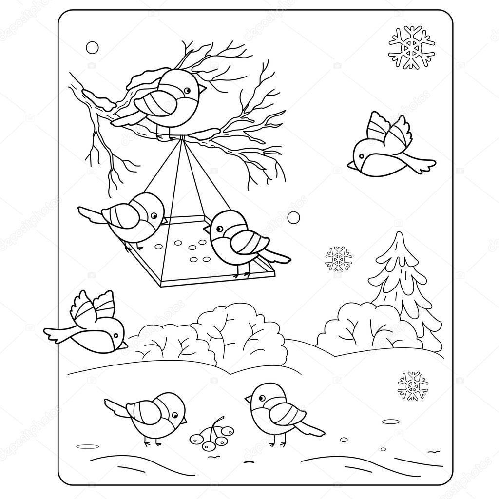 Kleurplaat Pagina Overzicht Van De Cartoon Vogels In De Winter Vogelhuis Waterbak Goudvink Mees Mussen Kleurboek V Cartoon Vogels Kleurboek Winterknutsels