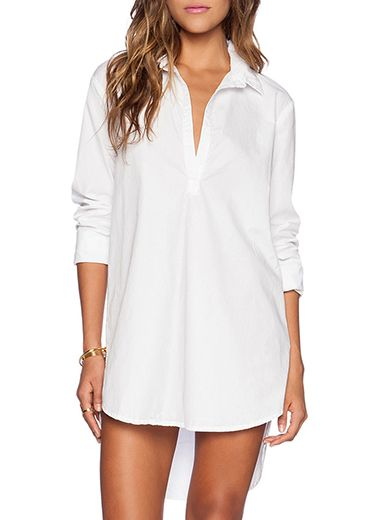 Women's Shirt Dress - White Long Tail / Pointed Collar | Tap Click ...