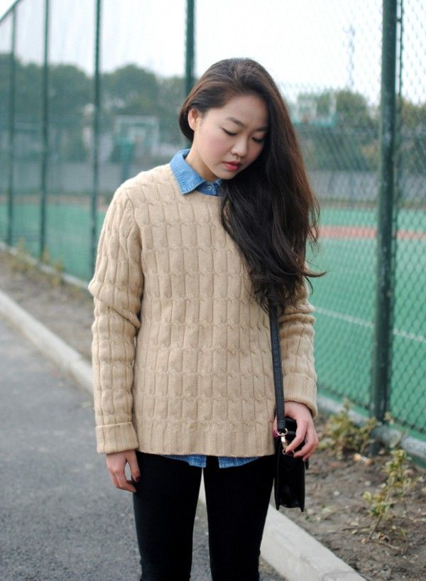 Oversized cable knitted sweaters, long sleeves loose Oversize ...