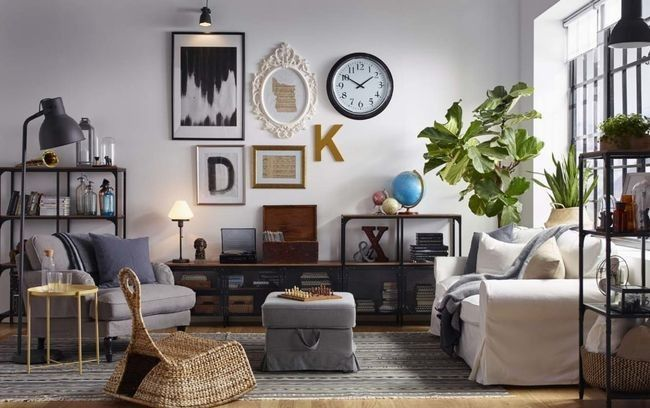 Eclectic Living Room With Gallery Wall And Industrial Style Wood And Metal  Shelving. DESIGN NOTE: Blend Industrial With Glam.