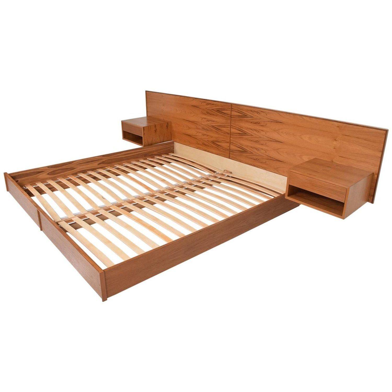 Best Custom Modern Oak King Size Platform Bed With Floating 400 x 300