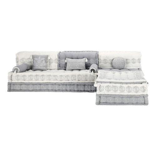 banquette d'angle modulable 6 places en coton grise et blanche