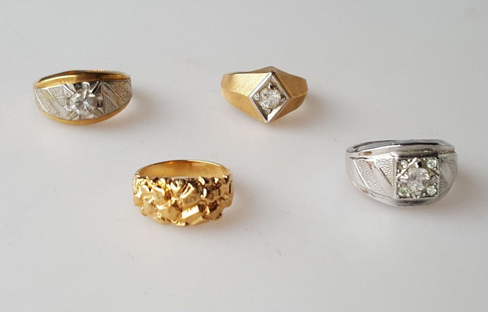4 vintage mens costume jewelry ring 18K HGE heavy gold electroplate