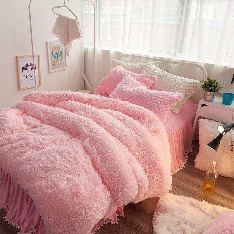 Pink Suede Four Piece Bedding Set Cute Girl Favorite Winter Duvet Cover Pink Bedroom Decor Pink Bedrooms Luxury Bedroom Inspiration