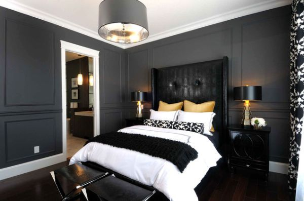 Atmosphere Interior Design charcoal gray black yellow sophisticated  masculine bedroom design with gray walls, tall black leather tufted  wingback bed ...