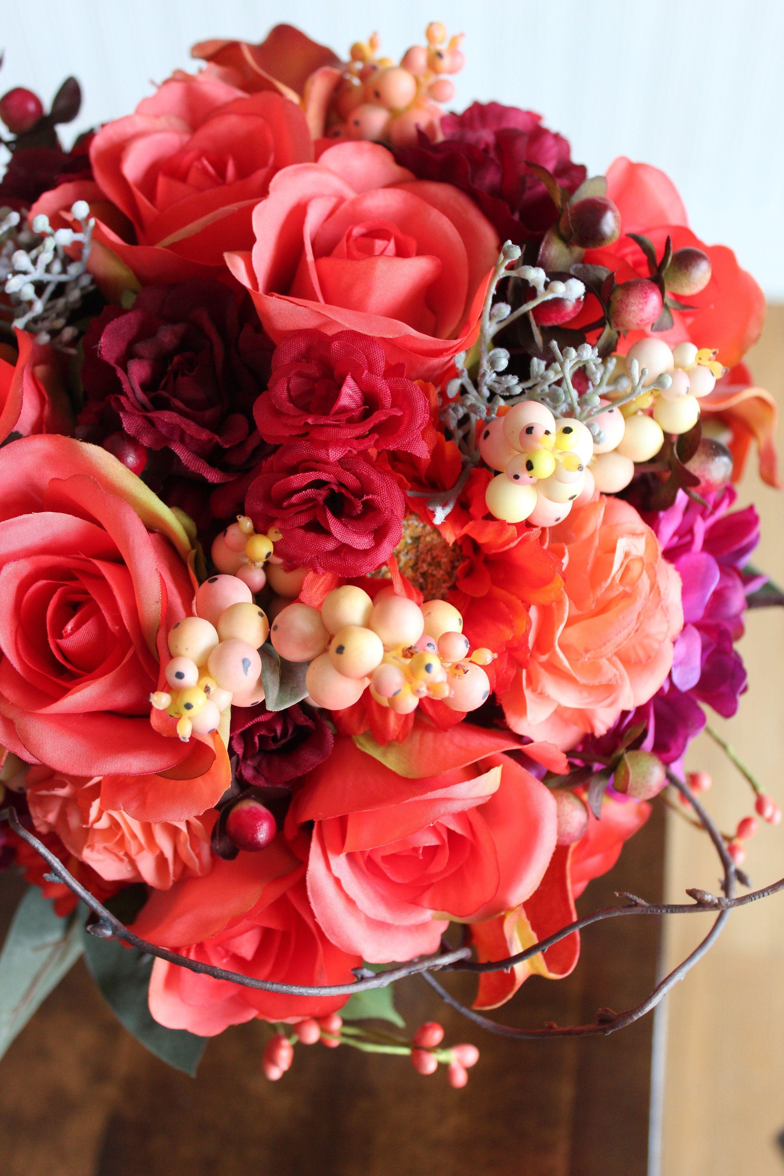 Fall Flowers in a Bridal Bouquet Recreation in Silk