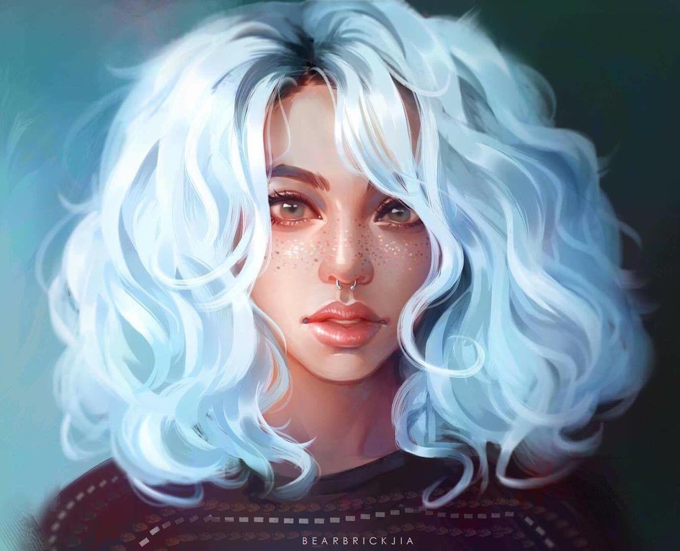 Blue Karmen Loh Digital Art Girl How To Draw Hair Pretty Art