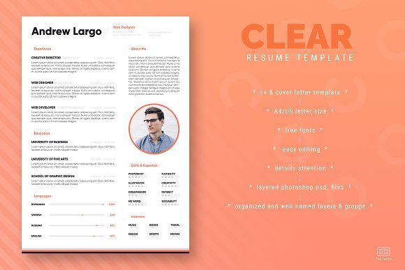 Clear Resume / CV Template by The Path on @creativemarket | Resume ...