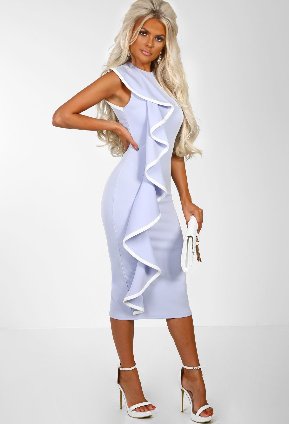Spring Vacay Powder Blue Frill Front Midi Dress 10 In 2019