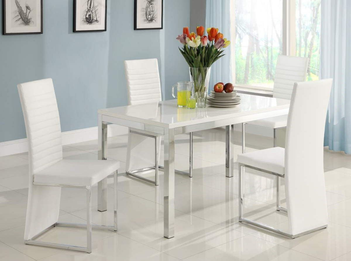 4 Clarice White Metal Pvc Side ChairsHE-2447WS | Dining Room Chair ...