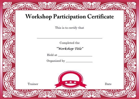 Template for Certificate of Partcipation in Workshop Certificate - certificate of completion sample