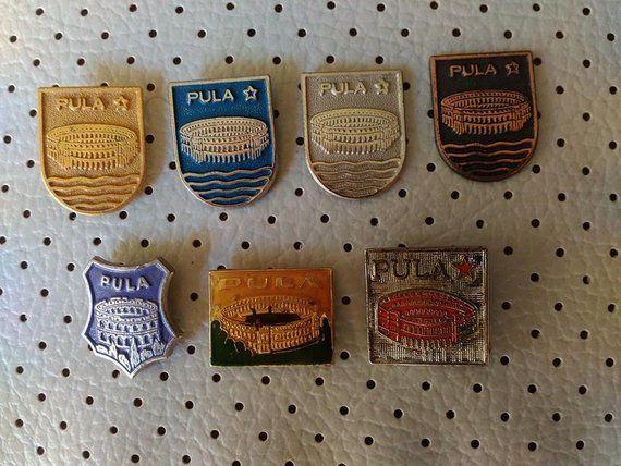 a36dba0a79f1 Pula Hrvatska Vintage Pins Souvenirs Sale Tourist Travel Coat of Arms City  Crests Croatia