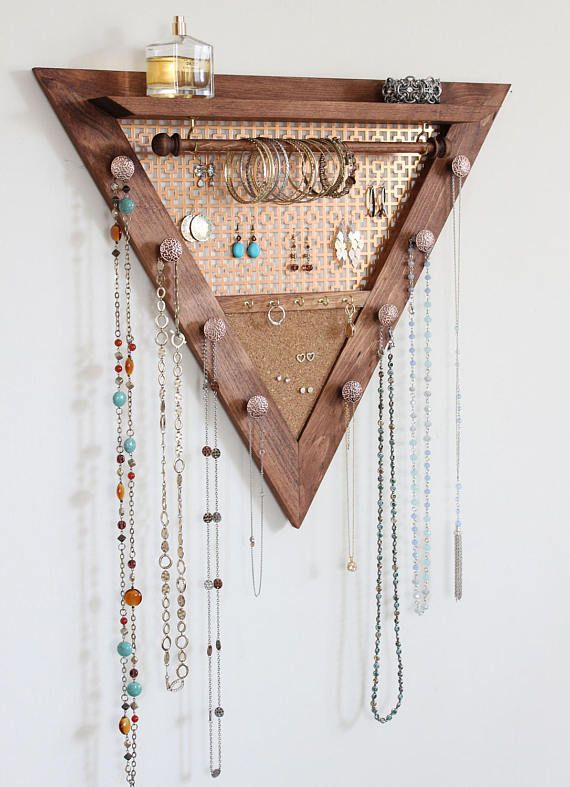Triangle Jewelry Organizer Wooden Wall Hanging Jewelry Organizer Jewelry Organizer Wall Jewelry Organizer Diy Hanging Jewelry Organizer