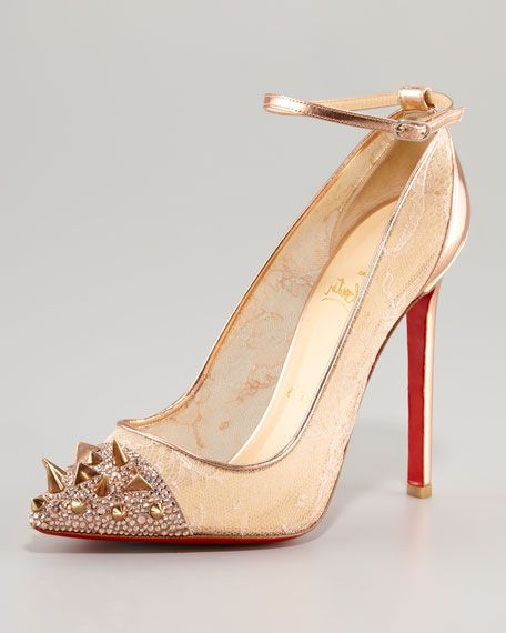 Christian Louboutin Spiked Toe & Lace Pump.