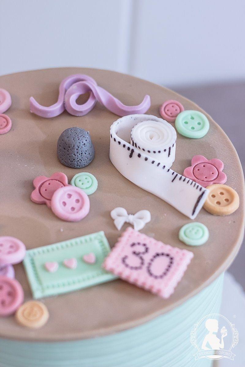 Geburtstagstorte Garnrolle Nahen Stricken Torte Fondant Kuchen Cake